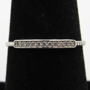 Vintage Size 7.25 Sterling Thin CZ Diamond Ring
